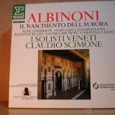 Discos de vinilo: ALBINONI - IL NASCIMENTO DELL'AURORA. CLAUDIO SCIMONE - ERATO 751522 - 1985 - 2XLP BOX. Lote 44849928