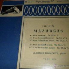 Discos de vinilo: VLADIMIR HOROWITZ, CHOPIN, MAZURCAS , EP 1958. Lote 44857077