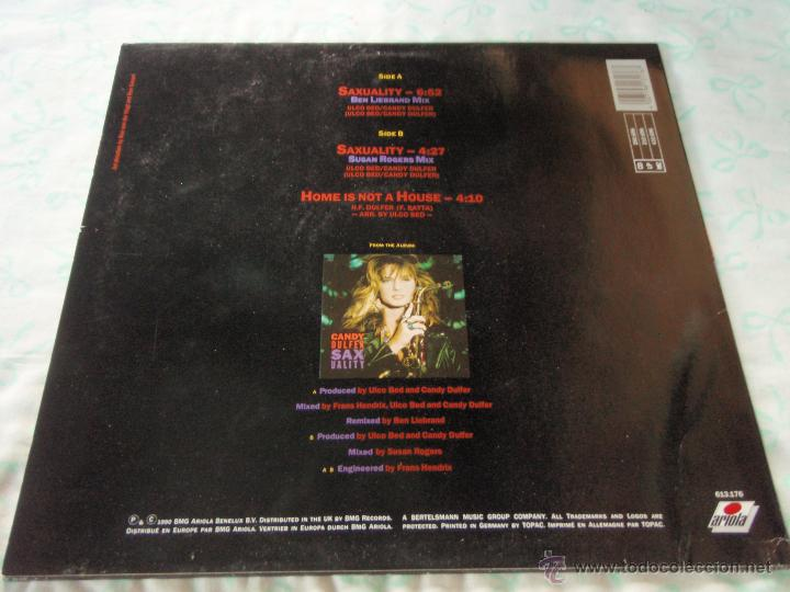 Discos de vinilo: CANDY DULFER ( SAXUALITY 2 VERSIONES - HOME IS NOT A HOUSE ) 1990-GERMANI MAXI45 ARIOLA - Foto 2 - 44906499