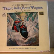 Discos de vinilo: CLAUDIO MONTEVERDI - VELPRO DELLA BEATA VERGINE (VISPERA DE LA VIRGEN MARIA) -TELEFUNKEN SAWT 9501-2. Lote 44914450