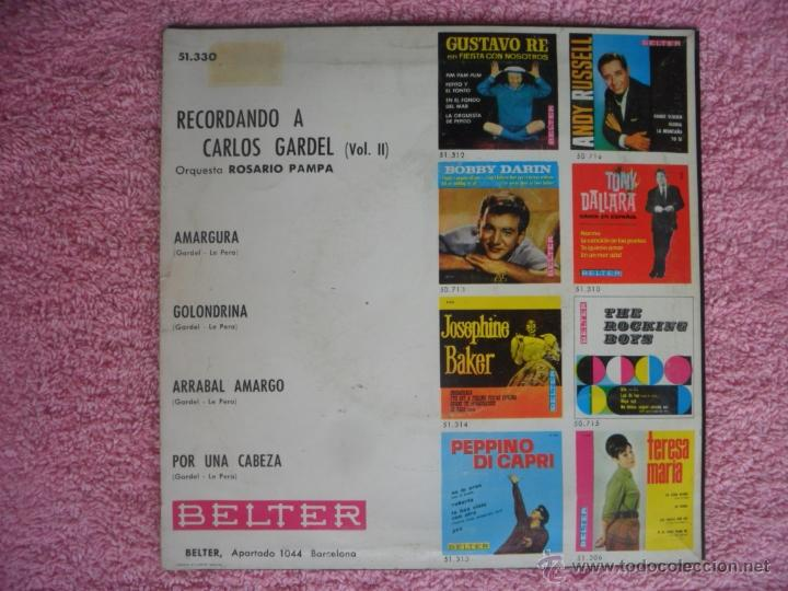 Discos de vinilo: recordando a carlos gardel vol 2 1964 belter 51330 amargura orquesta rosario pampa disco vinilo - Foto 2 - 44916242