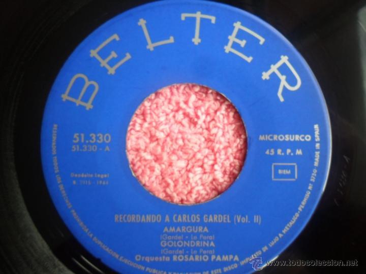 Discos de vinilo: recordando a carlos gardel vol 2 1964 belter 51330 amargura orquesta rosario pampa disco vinilo - Foto 4 - 44916242