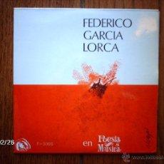 Discos de vinilo: FEDERICO GARCIA LORCA - EN POESÍA Y MÚSICA - N. ESPERT + M. DICENTA + G. CUERVO + F. GUILLEN . Lote 44925130