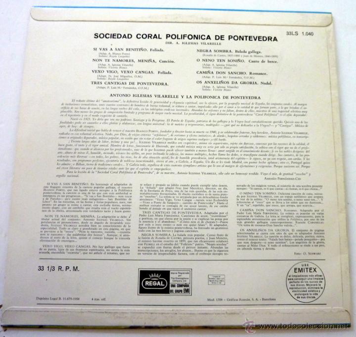 Discos de vinilo: Canciones Gallegas - Sociedad Coral Polifonica de Pontevedra - Regal 1958 - NM/EX - Foto 2 - 44948507