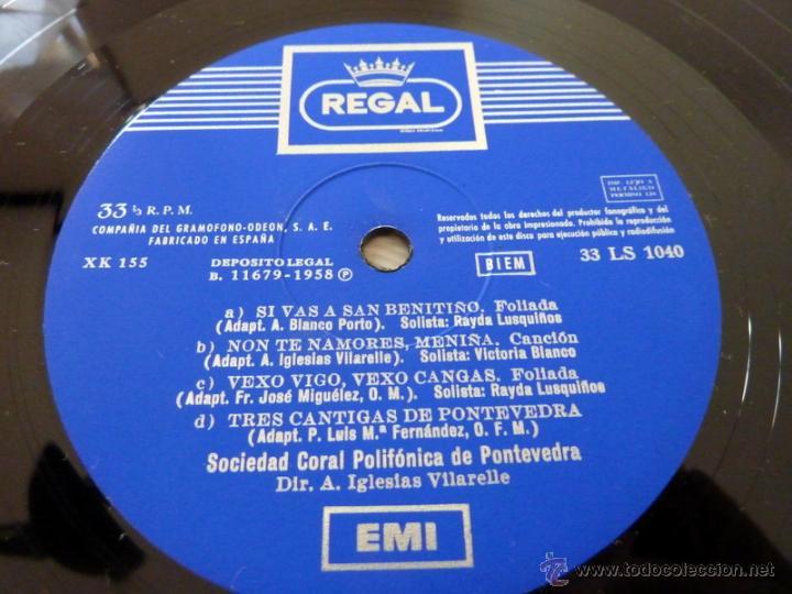 Discos de vinilo: Canciones Gallegas - Sociedad Coral Polifonica de Pontevedra - Regal 1958 - NM/EX - Foto 3 - 44948507