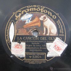 Discos de vinilo: DISCO DE PIZARRA DE GRAMÓFONO ANTIGUO LA CANCIÓN DEL OLVIDO LA VOZ DE SU AMO. Lote 45001115