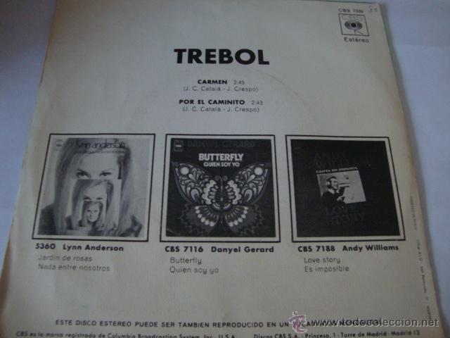 Discos de vinilo: DISCO SINGLE TREBOL - CARMEN / POR EL CAMINITO - (CBS-1971) - Foto 3 - 45024229