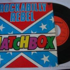 Discos de vinilo: DISCO SINGLE MATCHBOX - ROCKABILLY REBEL / I DON'T WANNA BOOGIE ALONE - SINGLE MAGNET 1980. Lote 45024263