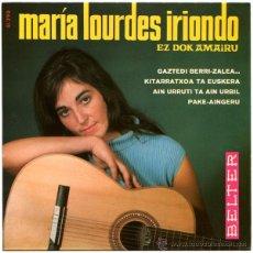 Discos de vinilo: MARÍA LOURDES IRIONDO - GAZTEDI BERRI-ZALEA... - EP SPAIN 1967 - BELTER 51.290. Lote 45054998
