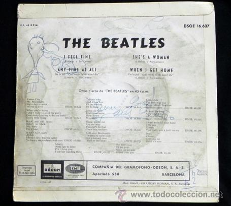 Discos de vinilo: THE BEATLES - DISCO DE VINILO 45 RPM - I FEEL FINE / SHES A WOMAN MÚSICA ROCK BRITÁNICO AÑOS 60 LOS - Foto 2 - 45070819