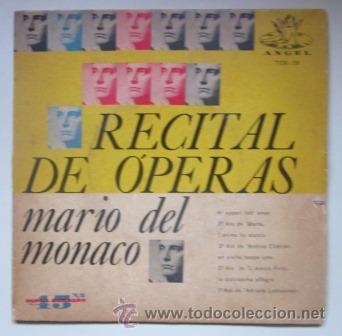 MARIO DEL MONACO - RECITAL DE ÓPERAS - EDITADO EN BRASIL (Música - Discos de Vinilo - EPs - Clásica, Ópera, Zarzuela y Marchas)
