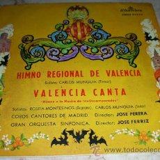 Discos de vinilo: HIMNO REGIONAL DE VALENCIA - SOLISTA CARLOS MUNGUIA - SINGLE ALHAMBRA 1959. Lote 45089825