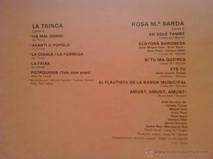 Discos de vinilo: L.P.: LA TRINCA - ROSA Mª SARDÀ - ARIOLA,1979 - - Foto 7 - 28632443