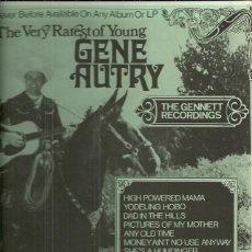 Discos de vinilo: GENE AUTRY LP SELLO THE GENNETT RECORDINGS EDITADO EN USA.. Lote 45119914