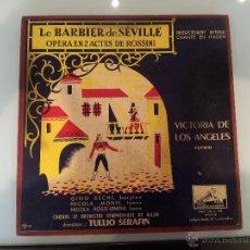 Discos de vinilo: CAJA CON 3 DISCOS, LE BARBIER DE SEVILLE, OPERA DE ROSSINI, VICTORIA DE LOS ANGELES, SOPRANO.. Lote 45142600