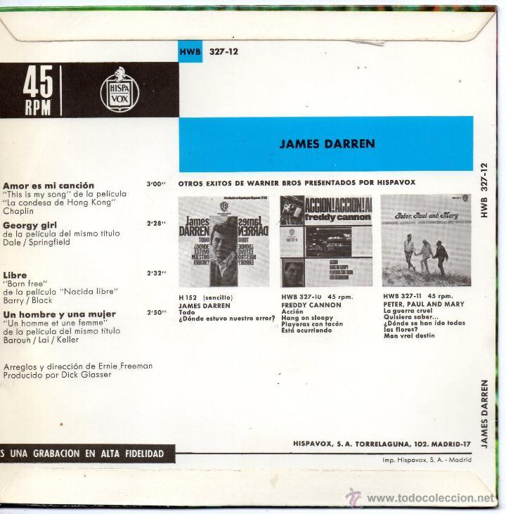 Discos de vinilo: JAMES DARREN - EXITOS DE PELICULAS, EP, GEORGE GIRL + 3, AÑO 1967 - Foto 2 - 45147545