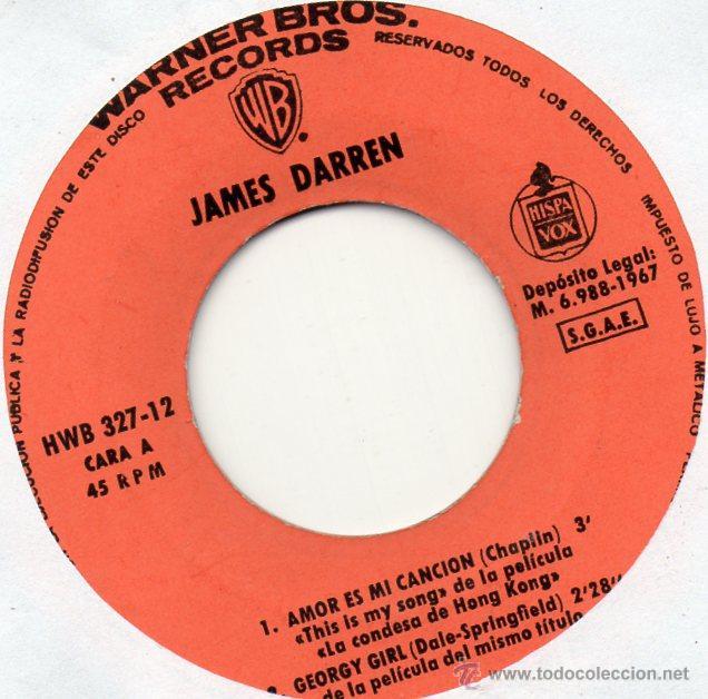 Discos de vinilo: JAMES DARREN - EXITOS DE PELICULAS, EP, GEORGE GIRL + 3, AÑO 1967 - Foto 3 - 45147545