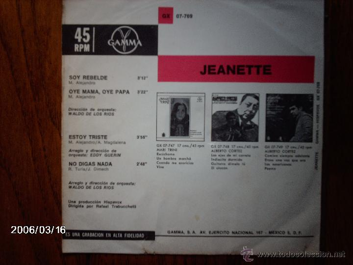 Discos de vinilo: jeanette - soy rebelde + 3 - edición mexicana - Foto 2 - 45142387