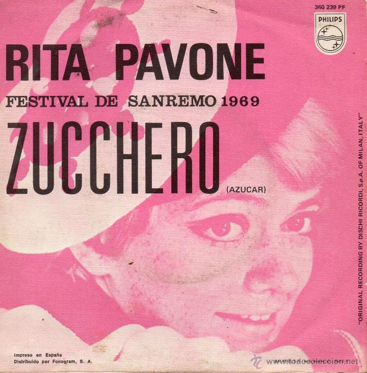 Discos de vinilo: RITA PAVONE - FESTIVAL SAN REMO, SG, ZUCCHERO + 1, AÑO 1969 - Foto 2 - 45171138