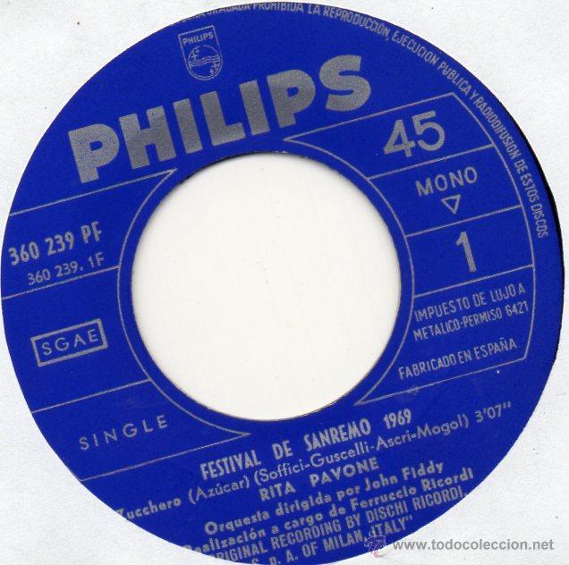 Discos de vinilo: RITA PAVONE - FESTIVAL SAN REMO, SG, ZUCCHERO + 1, AÑO 1969 - Foto 3 - 45171138