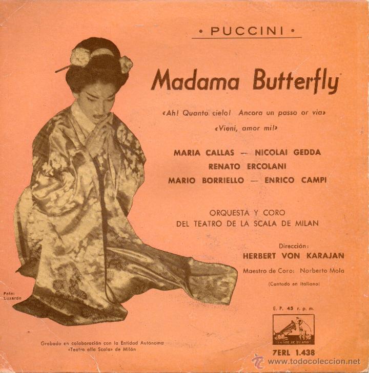MARIA CALLAS - NICOLAI GEDDA ..., EP, MADAMA BUTTERFLY + 1, AÑO 1961 (Música - Discos de Vinilo - EPs - Clásica, Ópera, Zarzuela y Marchas)
