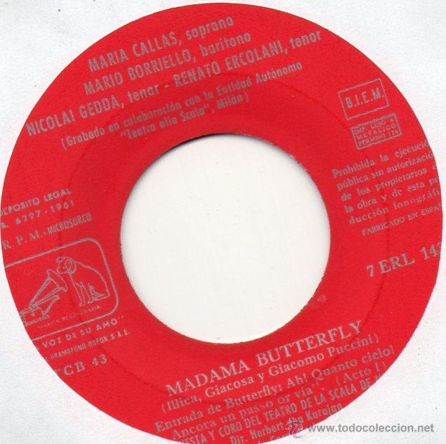Discos de vinilo: MARIA CALLAS - NICOLAI GEDDA ..., EP, MADAMA BUTTERFLY + 1, AÑO 1961 - Foto 2 - 45196739