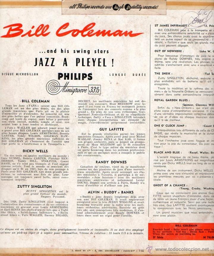 Discos de vinilo: EP Bill Coleman And His Swing Stars N°1 & N°2 Jazz A Pleyel Minigroove PHILIPS - Foto 2 - 45204469