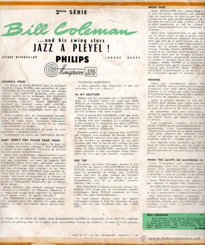 Discos de vinilo: EP Bill Coleman And His Swing Stars N°1 & N°2 Jazz A Pleyel Minigroove PHILIPS - Foto 4 - 45204469