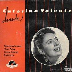 Discos de vinilo: CATERINA VALENTE CON LA ORQUESTA MÓNACO - CANCIÓN DE AMOR / COCO POLKA / CASANOVA / FIESTA CUBANA . Lote 45219829