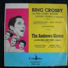 Discos de vinilo: BING CROSBY // THE ANDREW SISTERS // 4 TEMAS. Lote 45244794