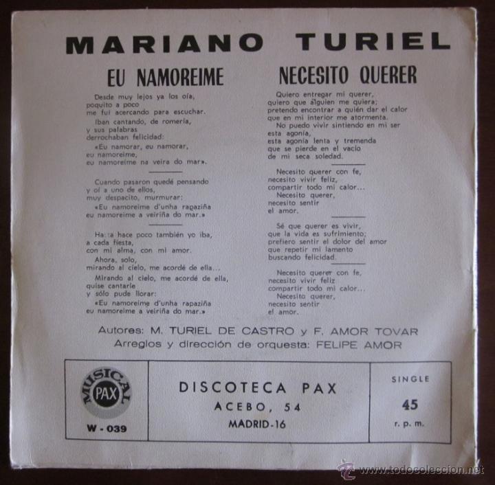 Discos de vinilo: MARIANO TURIEL - EU NAMOREIME - 1971 (Excelente estado) - Foto 2 - 45250567