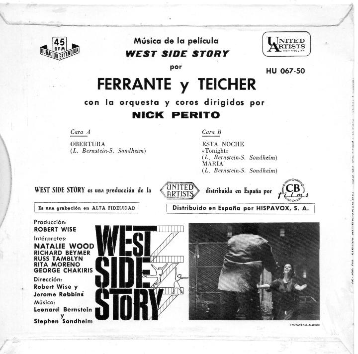 Discos de vinilo: WEST SIDE STORY - FERRANTE Y TEICHER, EP, OBERTURA + 2, AÑO 1961 - Foto 3 - 45256757