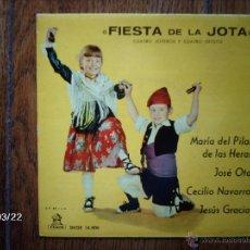 Discos de vinilo: FIESTA DE LA JOTA - Mª DEL PILAR DE LAS HERAS, JOSE OTO, CECILIO NAVARRO, JESUS GRACIA . Lote 45274975