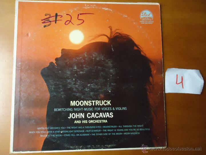 DISCO GRABDE VINILO RARO - MOONSTRUCK , JOHN CACAVAS AND HIS ORCHESTRA , PRINTED USA (Música - Discos - Singles Vinilo - Otros estilos)