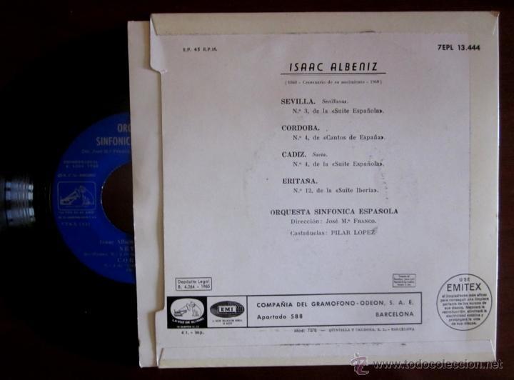 Discos de vinilo: ISAAC ALBÉNIZ - ORQUESTA SINFÓNICA ESPAÑOLA - 1960 - dir. José Mª Franco; castañuelas: Pilar López - Foto 2 - 45341211