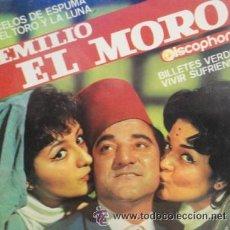 Discos de vinilo: EMILIO EL MORO CELOS DE ESPUMA / EL TORO Y LA LUNA / BILLETES VERDES / VIVIR SUFRIENDO. Lote 45346408