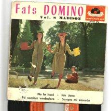 Discos de vinil: FATS DOMINO VOL. 8 MADISON: AIN´T GONNA DO IT + IDA JANE +2, DISCO ROTO. Lote 45375719