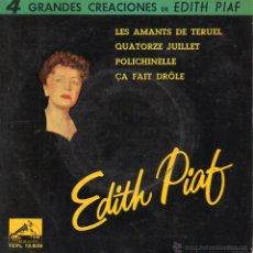 Disques de vinyle: EDITH PIAF, EP, LES AMANTS DE TERUEL + 3, AÑO 1962. Lote 45419104