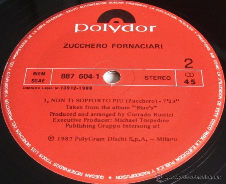 Discos de vinilo: ZUCCHERO SUGAR FORNACIARI - NON TI SOPPORTO PIU + CON LE MANI - MAXI SINGLE - POLYDOR 1988 SPAIN - Foto 2 - 150058870