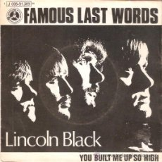Discos de vinilo: SINGLE LINCOLN BLACK - FAMOUST LAST WORKS EDITADO ESPAÑA ODEON 1970. Lote 45479910