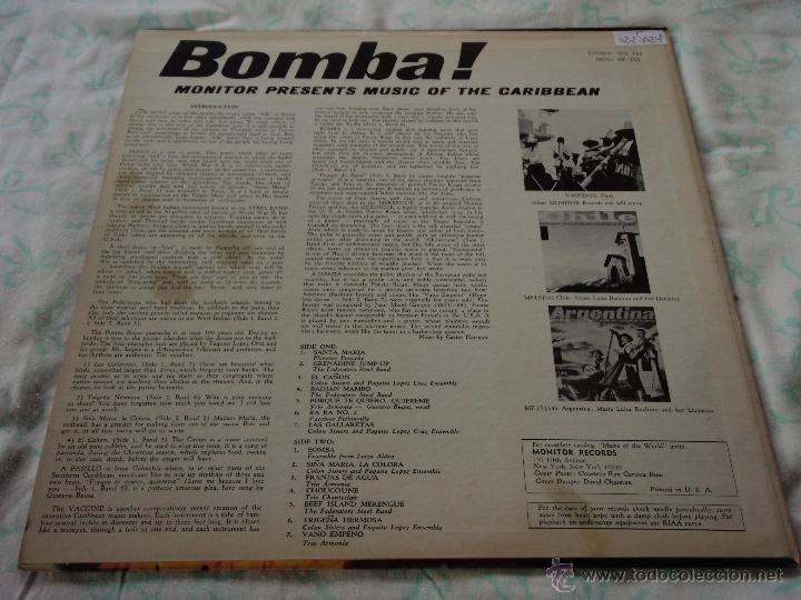 Discos de vinilo: BOMBA! MUSIC OF THE CARIBBEAN USA LP33 MONITOR - Foto 2 - 9290347
