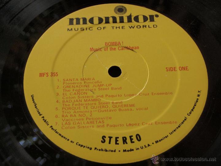 Discos de vinilo: BOMBA! MUSIC OF THE CARIBBEAN USA LP33 MONITOR - Foto 5 - 9290347