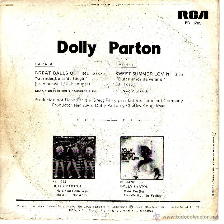 Discos de vinilo: DOLLY PARTON -GREAT BALLS OF FIRE - Foto 2 - 45557426