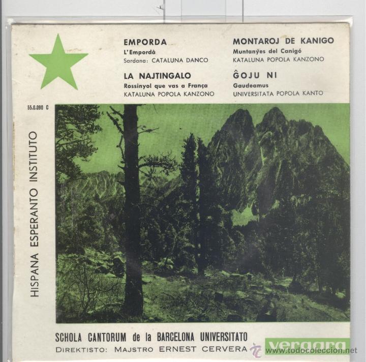HISPANA ESPERANTO INSTITUTO. CANCIONES POPULARES CATALANAS EN ESPERANTO. VERGARA 1963. NUEVO EP (Música - Discos de Vinilo - EPs - Étnicas y Músicas del Mundo)