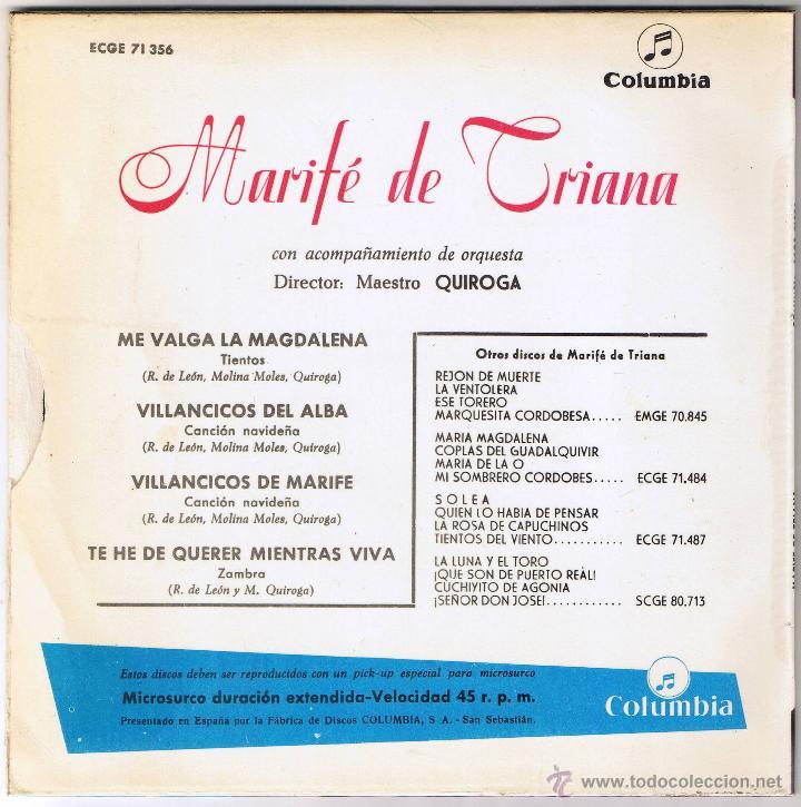 Discos de vinilo: M - MARIFE DE TRIANA - TE HE DE QUERER MIENTRAS VIVA - FOTO ADICIONAL - Foto 2 - 45611387