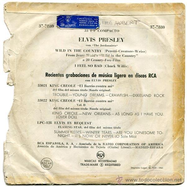 Discos de vinilo: ELVIS PRESLEY - WILD IN THE COUNTRY - SG SPAIN 1961 - RCA 37-7880 - Foto 2 - 45638658