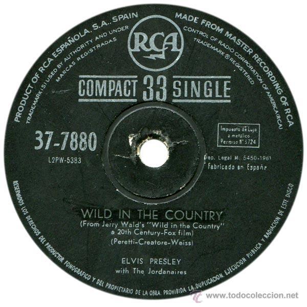 Discos de vinilo: ELVIS PRESLEY - WILD IN THE COUNTRY - SG SPAIN 1961 - RCA 37-7880 - Foto 3 - 45638658