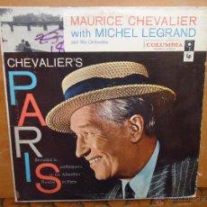 Discos de vinilo: DISCO GRANDE VINILO RARO - MAURICE CHEVALIER WHIT MICHEL LEGRAND CHEVALIERS CULUMBIA PRINTEDE USA . Lote 45661937