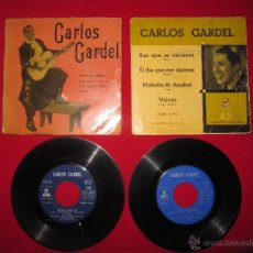 Disques de vinyle: 2 SINGLE VINILO 45 RPM EP CARLOS GARDEL- 1955-1957- ODEON. Lote 45665543