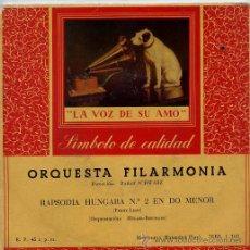 Discos de vinilo: ORQUESTA FILARMONICA (RUDOLF SCHWARZ) RAPSODIA HUNGARA Nº 2 (EP 1960). Lote 45671258
